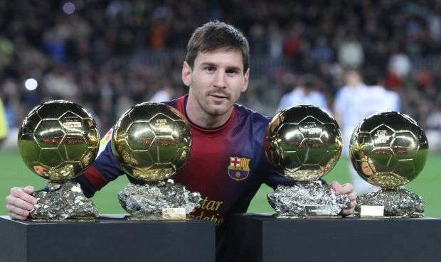 2013 Lionel Messi Presents his Ballon D Or Trophies Barcelona Jan 16th