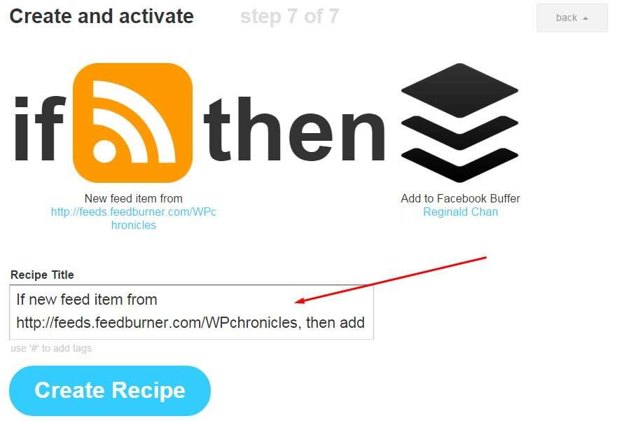 How to create IFTTT recipe