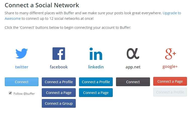 Add social media accounts to Buffer