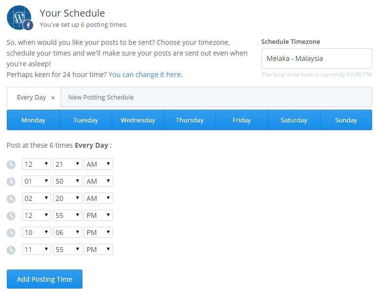 Create schedules on Buffer