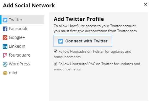 adding a social media account with hootsuite