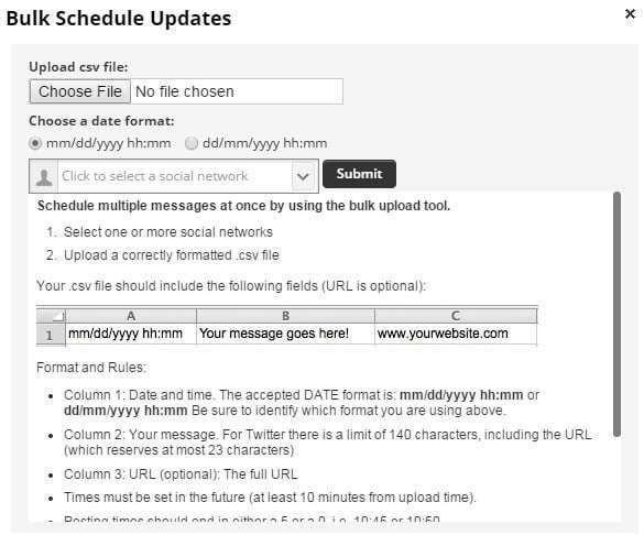 Hootsuite bulk schedule updates