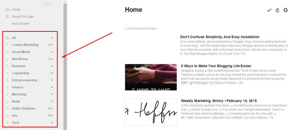 Feedly for content curation
