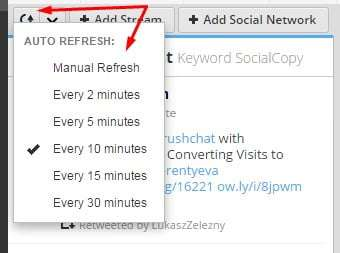 setting up HootSuite refresh interval