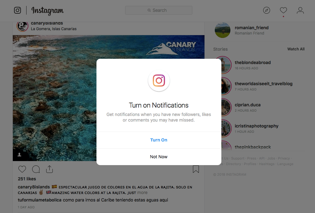 Instagram for Desktop Has a New Feature for Notifications